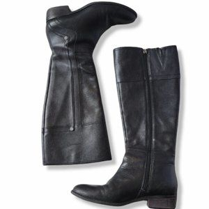 Leather knee high riding style zip up boot.